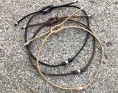 Bracelet Bow 03 Sterling .925 Cotton Handmade (B803SS-C)