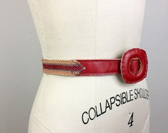 Vintage 30s 40s Red Leather and Woven Braided Stripe Belt 1930s 1940s