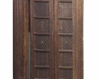 Antique Floral Hand Carved Doors Teak Wood Double Door & Frame Indian Haveli Med Century Old World Decor