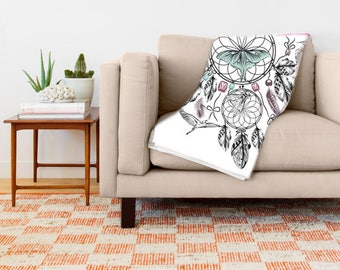 Dreamcatcher Blanket - Throw Blanket - Dreamcatcher Bedroom - Dreamcatcher Decor
