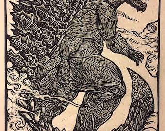 Monster Planet Godzilla Block Print