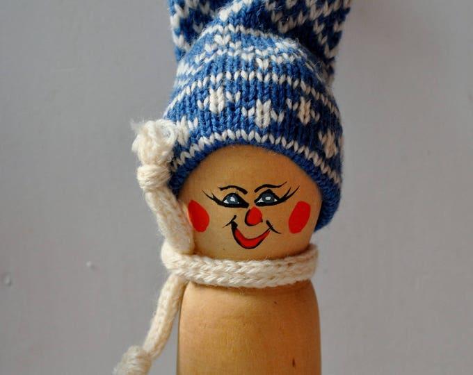 Swedish Folk Art Snow Figure Hand Carved