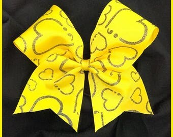 Suicide Awareness Support Bow Yellow Hearts