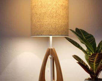 Tripod Table Lamp   Mid Century Style   Walnut Wood   Burlap Color Shade
