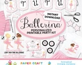 Ballerina Printable Party Kit - Ballerina Invite & Decor - Ballet Invitation - INSTANT DOWNLOAD and Edit in Adobe Reader - Blonde Brown Hair