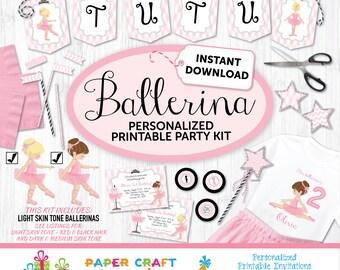 Ballerina Printable Party Kit | Ballerina Invite & Decorations | INSTANT DOWNLOAD-Edit in Adobe Reader | Light Skin Tone | Blonde Brown Hair