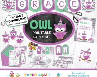 Owl Printable Party Kit | Owl Invite & Decorations | INSTANT DOWNLOAD and Edit in Adobe Reader | Paper Craft Party