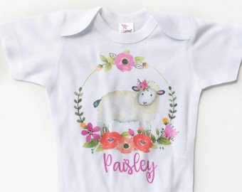 Newborn Take Home Outfit, Personalized Baby Girl Outfit, Baby Shower Gift, Little Lamb Top, Personalized Baby Bodysuit, Boho baby clothes