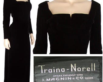 Vintage Traina Norell Early 1940s Black Velvet Evening Gown Dress XS S 40s Velveteen WWII Wartime Rare US Couture Norman