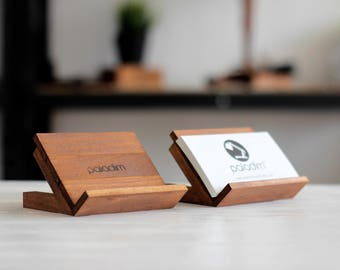 Business Card Stand, Desk Decor, Business Card Holder, Desk Card Holder, Gift For Him, Wooden Card Holder, Office Accessories