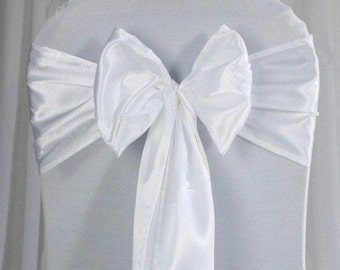 25x White Satin Chair Sashes Bow Cover for Wedding Engagement Birthday Anniversary Event Party Reception Ceremony Bouquet Baptism Decoration
