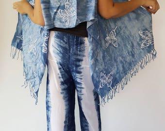 BL0080 Only Tie dye Blouse, Natural spun-dyed indigo cotton fabrics with blue