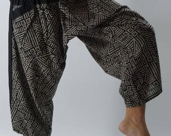 HC0140 Samurai Pants  - elastic waistband and cuffs - Fits all!  Unisex pants