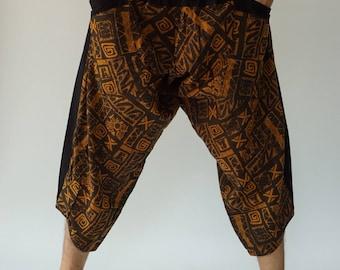 HC0572 samurai pants Handmade pants, Thick Smock Waist Low Crotch, unisex Yoga Harem Pants  - elastic waistband  - Fits all !
