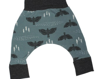 Hawks Watch, Slate Blue and Charcoal Harem Pants, Baby and Kids Harem Pant Leggings, Keeping Watch, Overlook, Hawkeye, Forest