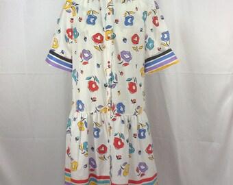 Womens Floral Muumuu, Muumuu, Size 8, Dressing Gown, Robe, Artist Smock, Dress, House Coat, Multi Color, Stripes, Floral, 1980s, Models Coat