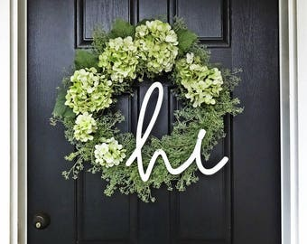Spring Green Wreath, Green Hydrangea Wreath, Hi Wreath, Summer Wreath, Easter Wreath, Green Flower Wreath