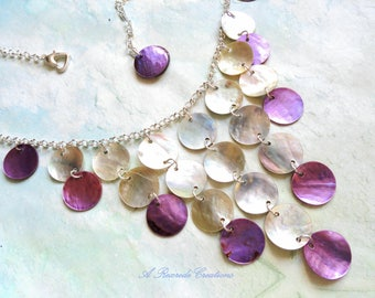 Purple Waterfall Necklace Women's Bib Necklace Cascading Shell Necklace Fashion Necklace Beach Jewelry Beach Necklace Shell Jewelry