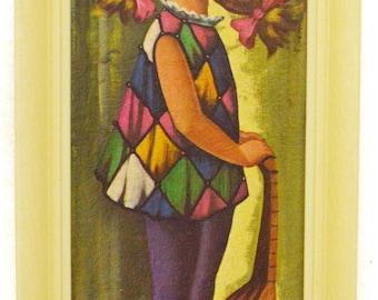 Vintage 60s Big Eye Harlequin Moppet Girl w/ Mandolin Mod Kitsch Art Print Lithograph