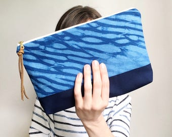 Indigo Shibori Zipper Pouch | Blue Clutch | Fabric Pouch | Toiletry Cosmetic Bag | Purse Organizer | Project Bag | Bridesmaid Gift