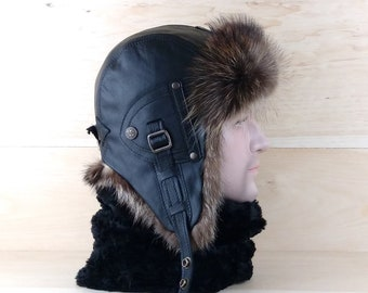 Size: L, Men/Women Ushanka, Fur Aviator Trapper Hat Cap, Bomber hat, Russian Hat, Real Black Leather, Recycled Raccoon Fur, CA18
