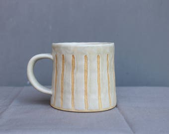 White Ceramic Mug. Handmade Mug. Coffee Mug. Tea Mug. Pottery Mug. Stoneware Mug.