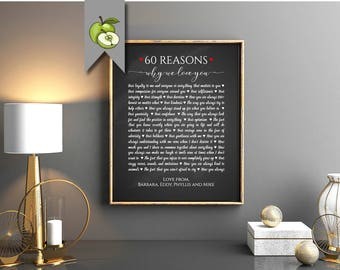 70 Reasons we love you gift, favourite things, all the things, memories, Family gift, friends, we love you, retirement gift, printable M9 S9