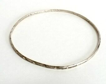 Silver Bangle Bracelet, Native American Artisan Sterling Silver Bracelet, Vintage Estate Silver Jewelry, Southwest Jewelry Silver Bracelet