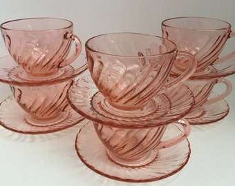 Vintage Pink Glass Arcoroc France Teacups and Saucers Set of 6 Rosaline