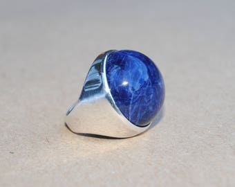 Sodalite Silver Ring - Sterling Silver 925 - Blue Sodalite Cabachon Gemstone -  Round Gemstone Ring - Handmade Jewelry - Gift for her