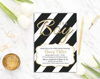 Black White Baby Shower Invitation Printable, It's a Boy Baby Shower Invite, Gold, Stripes , Modern baby shower invitation, Digital Printed