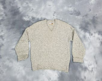 Pendleton wool sweater, V neck brown and beige pull over Lobo, Large