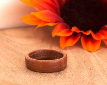 Wooden Ring, Wood Ring, Mahogany Ring, Wooden Wedding Ring, Woodland Wedding Ring, Red Mahogany Ring, 5th Anniversary Ring