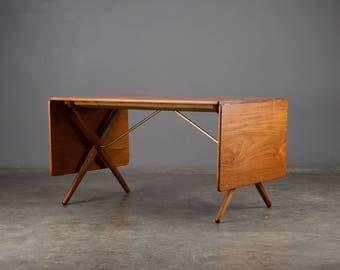 Hans Wegner Dining Table X-Base Teak Mid Century Danish Modern