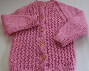 Pink Knit Cardigan-Kids knit clothing-Girls knit sweater-Childrens Jumpers-Hand Knitted Cardigan 2-3 years. Ready to ship now.