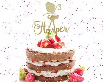 Custom Glitter Ballerina Cake Topper - Custom Birthday Cake Topper, Ballerina Birthday, Ballerina Party. Ballerina Cake Topper