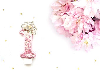 Pink Glitter & Large Crown Number 1 Birthday Candle - glitter birthday candle, first birthday candle, custom number candle, princess candle