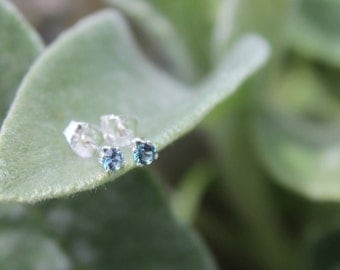 December Birthstone Gift, 3mm Blue Zircon Stud Earrings, Sterling Silver, Round Cut Gemstone, December Birthday Gift