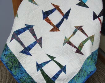 Abstract Batik throw quilt