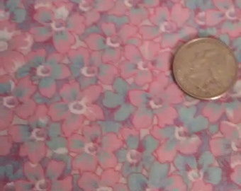 FABRIC PINK/BLUE Floral 2 Yard Piece
