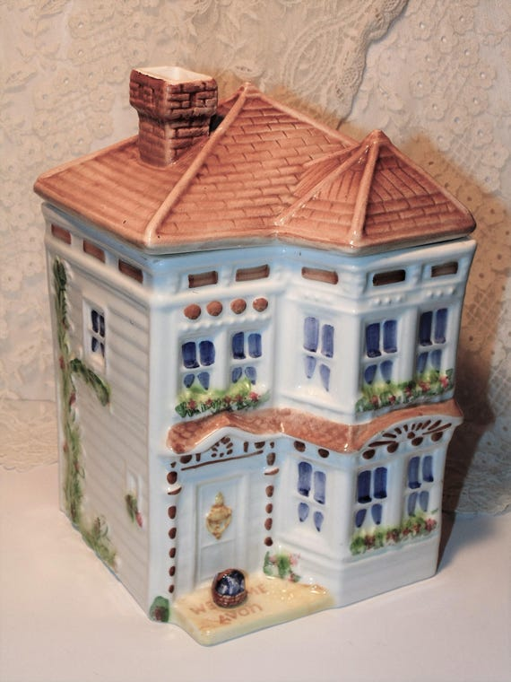Victorian House Shaped Cookie Jar Avon Townhouse Canister