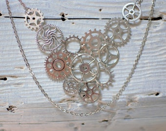 COGS - gears in silver necklace - asymetrical necklace bib necklace double chain - clockwork - steampunk - industrial