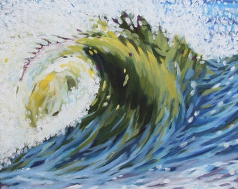 Ocean Wave, Pine Point Wave, Original Acrylic Painting, Framed