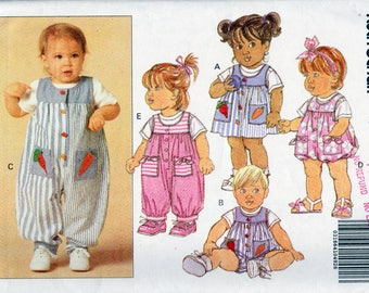 Butterick 5470, Babies 22 to 29 Pounds, Jumper, Romper, Jumpsuit and Top Pattern, Vintage 1991, Front Buttons, Patch Pockets, Super Cute