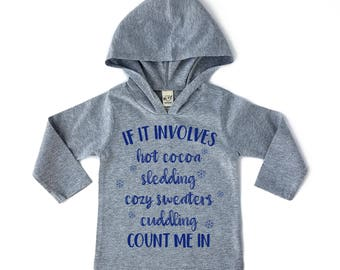 Hot Cocoa Kids Hoodie - Kids Winter Sweater - Hot Cocoa Shirt - Christmas Shirt - Gift for Kids - Girls Hoodie - Boys Hoodie - Holiday Gift