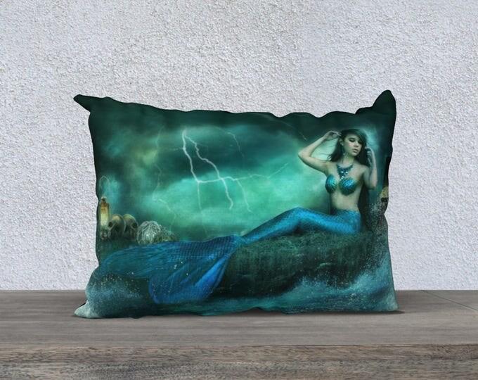 mermaid fantasy art pillow cover size 20x14