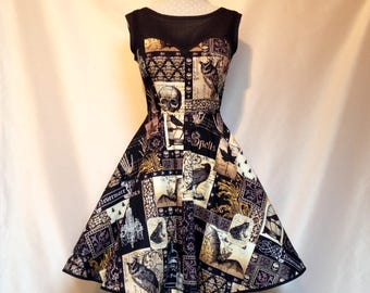 Sew Spooky...Black Nevermore Skulls n Spells Goth Prom Dress with Built in Petticoat Knee Length