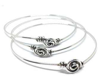 3 Stacking Bangles Set, Thin Bracelets, Solid Silver Bangles, Stacking Bangles, Sterling Silver Bangles