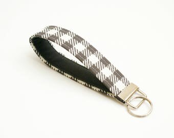 Key Fob - Cute Dark Brown and Cream Buffalo Plaid Check - 5 Inch Loop Key Strap - Key Wristlet - Key Chain - Fabric Keychain - Key Ring