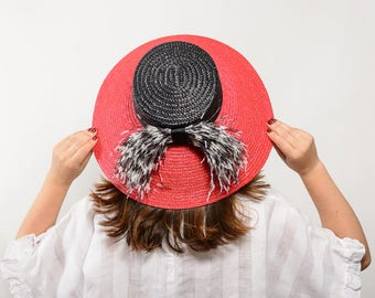 Hirta - Black and red straw boater hat, Red and black straw hat, summer hat, women's straw hat, wedding guest hat, beach straw sun hat